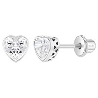 925 Sterling Silver Cubic Zirconia Birthstone Bezel Heart Screw Back Stud Earrings for Toddlers and Little Girls