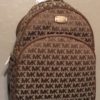 NWT MK Michael Kors Abbey Large Backpack Vanilla Luggage Brown Bag Purse $348