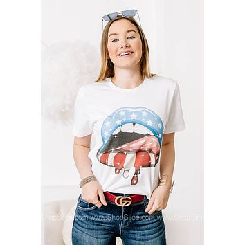 Patriotic Drip Lips Graphic Tee