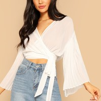 Crop Wrap Belted Pleated Bell Sleeve Blouse