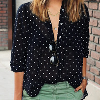 Black Polka Dot Printed Long Sleeve Shirt
