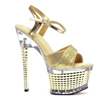 Ellie Shoes E-649-Disco 6 Crossed strap textured platform