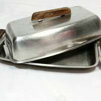 Vintage Stainless Steel 18/8 Denmark Butter Dish/Mid Century Party Butter Dish/Wood and Stainless Steel Kitchen Supply