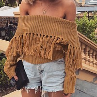 Tassel Solid Slash Neck Short Knitwear Cozy Casual Sweater Women Loose Streetwear Pullovers Jumper
