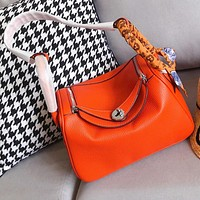 Hermes Popular Women Shopping Bag Leather Handbag Satchel Crossbody Shoulder Bag Orange&Red