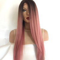 Black Pink Ombre' Lace Front Wig 18 inches