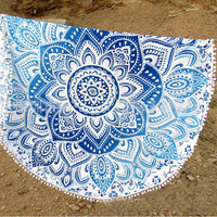 Trendy Pompom Mandala Tapestry Indian Printed Decor Wall Hanging Tapestries  11918 Diameter 150cm