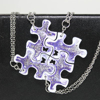 Friendship Puzzle Pendants 4 piece set Purple and silver glitter Linking pendants
