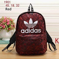 ADIDAS Clover 2018 tide brand comfortable casual men and women simple backpack Red