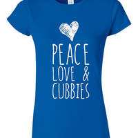 Ladies Chicago Baseball T Shirt Peace Love & Cubbies Playoff Win shirt Mens Ladies Styles