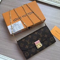 LV Louis Vuitton MONOGRAM CANVAS CHAIN HAND BAG WALLET