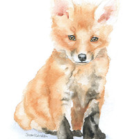 Baby Fox Watercolor Note Cards Set