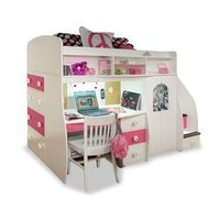 BuildABear Pawsitively Yours Twin Loft Bed with Desk and Storage