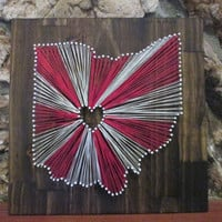 String Art State, Any State, Ohio State Buckeyes, Home is Where the Heart Is, Nail and String Art, 2 Colors