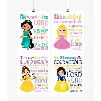 Princess Christian Nursery Decor Set of 4 Prints, Jasmine, Aurora, Belle and Snow White with Bible Verses