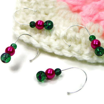 Removable Stitch Markers Set, Crochet, Snag Free, Beaded, Dark Green, Fuchsia Pearl, Hot Pink, Gift for Crochet, TJBdesigns