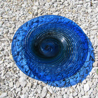 Blown Glass Blue Cane Plate Item 19 by AJGlassWorks on Etsy