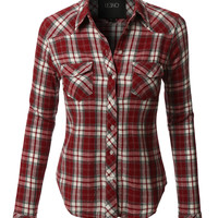LE3NO Womens Plaid Flannel Long Sleeve Button Down Shirt with Pockets (CLEARANCE)