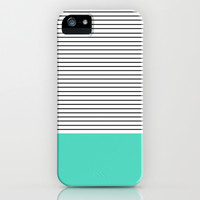 MINIMAL Teal Blue Stripes iPhone & iPod Case by Allyson Johnson