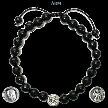 MIRACLE MEDAL | St. Mary | Divine Mercy | Black Onyx Adjustable Pull-Tie Bracelet
