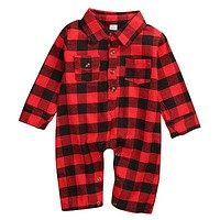 Cotton born Infant Baby Boy Long Sleeve Plaid Romper Jumpsuit Clothes Outfits