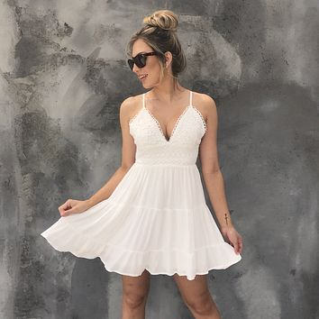Lace Me Up Linen Skater Dress in Ivory