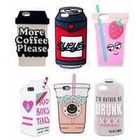 3D Drink Box Carton Beer Can Pack Coffee Juicy Water Soft Silicone Case for iPhone X 8 6 6S 7 Plus 5 5S SE 5C