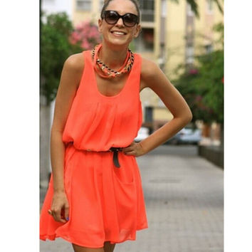 Fluorescent  chiffon sundress