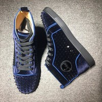 PEAPNW6 Cl Christian Louboutin Louis Spikes Mid Style #1801 Sneakers Fashion Shoes