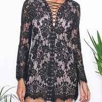 Lace Up Front Long Sleeve Lace Bodycon Dress