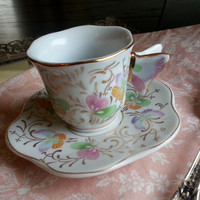 Formalities by Baum Bros butterfly handle demitasse tea cup and saucer set in pale blue