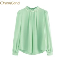 CHAMSGEND Women Chiffon Blouses Candy colors Long Flare Sleeve High Neck Female Tops Autumn Winter Pearl Beading Blouses l1226