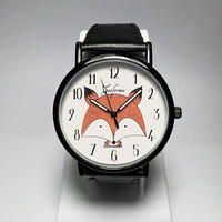 Fox Watch. Fox Jewelry. Womens Watches. Mens Watch. Woodland Animals Creatures.  Fox Print. Red Fox. Forest Animals. Cute Gifts. Freeforme