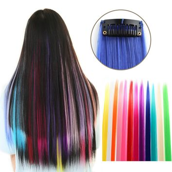 """23"""" Straight Colored Party Highlight Clip on in Hair Extensions Multiple Colors"""