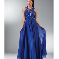 Royal Floral Chiffon Evening Gown Prom 2015