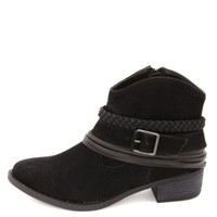 Dollhouse Braided & Belted Ankle Booties by Charlotte Russe - Black