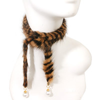 fur wrap pearl choker collar necklace