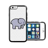 RCGrafix Brand Cute Elephant On Grey Chevron iPhone 6 Case - Fits NEW Apple iPhone 6