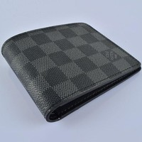 LV Fashion Trending Men Leather Handbag Wallet Purse Bag Black Tartan G-MYJSY-BB
