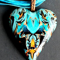 One of a kind handmade heart pendant on silk cord necklace