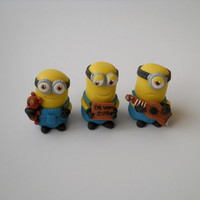 3 piece minion friend fondant cake topper set