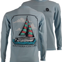 Southern Couture Comfort Colors Sailboat Long Sleeve Girlie Bright T Shirt