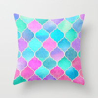 Bright Moroccan Morning - pretty pastel color pattern Throw Pillow by micklyn | Society6