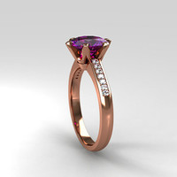 Amethyst engagemen ring, rose gold solitaire, diamond ring, uniuqe amethyts ring, purple wedding ring, vintage style, gold ring, violet