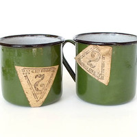 Vintage Soviet Camping Cup. Metal Enamel Mug. Set of 2 Green Cups. Antique Travel Mug 50s With Tags. Hikers Mug. Retro Kitchen Decor.