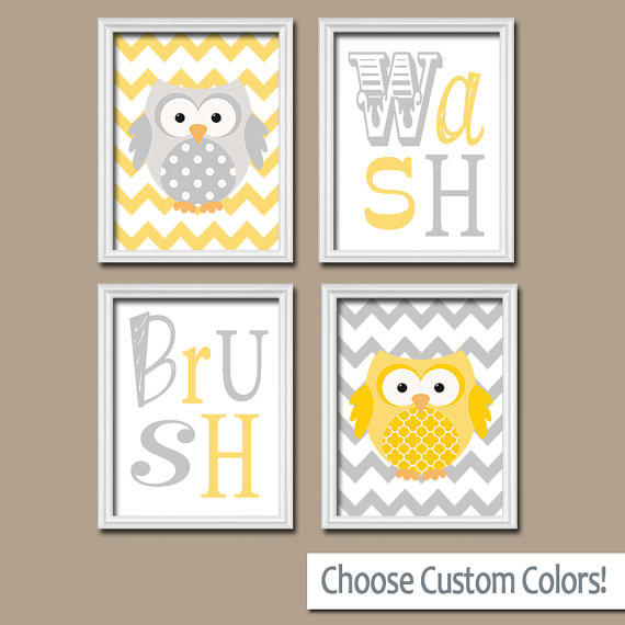 Owl Bathroom Yellow Gray Canvas Or Prints From Trm Design Wall