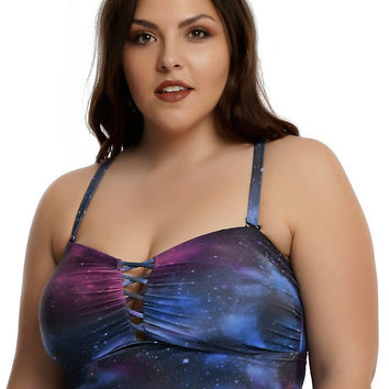Galaxy Print Swim Top Plus Size