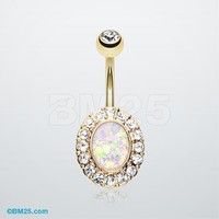 Golden Opal Elegance Belly Button Ring