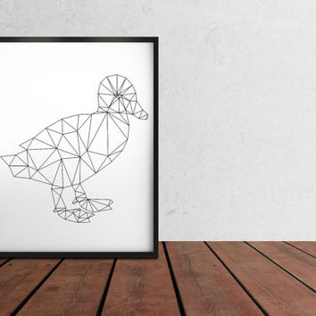 Baby duck poster Duckling print Geometric art Wall decor TO361