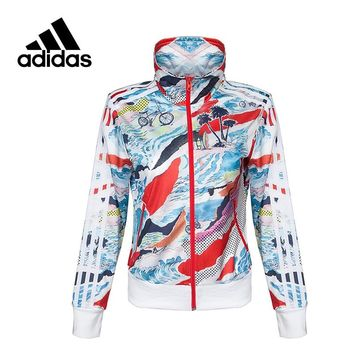 Original New Arrival Official Adidas Women's Jacket Breathable Stand Collar Sportswear